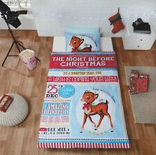 Noël One Night Only Rudolph Renne Rouge Bleu Blanc Housse Couette Simple