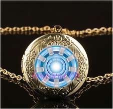 Iron Man Arc Reactor Cabochon Glass Gold Plating Locket Pendant Necklace