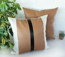 Color block vertical black line tan faux leather and natural linen pillow-1qty