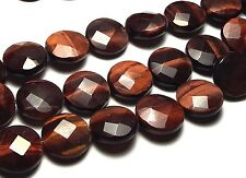 "15.5""  Strand RED TIGER EYE 14mm Faceted Coin Beads"