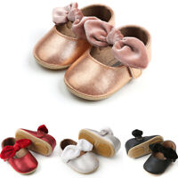 USHot Toddler Girl Crib Shoes Newborn Baby Bowknot Soft Sole Prewalker Sneakers