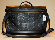 NWT  COACH F50052 HUDSON BLACK SIGNATURE LEATHER MEN MESSENGER SHOULDER BAG