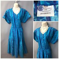 Nightingales Bright Oceon Blue Mix Cotton Retro Dress UK 14 EUR 42