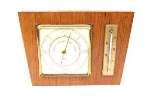 Wetterstation Barometer Thermometer Fischer Holz furniert 18x13 cm DDR gut.Zust.