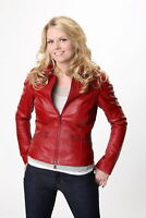 LADIES WOMEN RED SLIM FIT REAL LEATHER JACKET EMMA SWAN ONCE UPON A TIME - BNWT