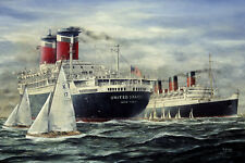 SS United States RMS Queen Mary Ocean Liner Marine Painting Art Print