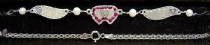 New 14K White Gold 3 Diamond Hearts/RUBY Anklet ~Free Shipping/Free Engraving~