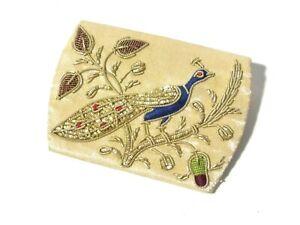 Vintage Silk Bullion Metal Coin Purse Embroidery Beaded Peacock Acorn Design