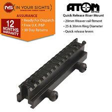 Quick release 20mm weaver rail riser mount/ 14 slot rifle scope riser mount