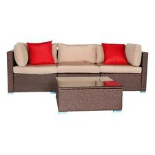 4 PCS Outdoor Furniture Sectional Sofa Set Rattan Wicker Cushioned Couch W/Table
