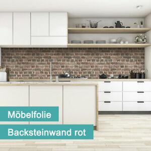 Tecosmart Möbelfolie PVC-frei | Backsteinwand Rot Steinoptik | 620mm x 2300mm