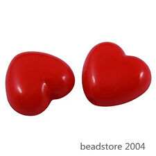100pcs Red Heart Acrylic Beads 10x11x6mm Valentine Day Mothers Day Gift Making