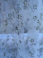"White With Daisy Beads Gold Foil Tulle Fabric 60"" Wide Sold By The Yard"