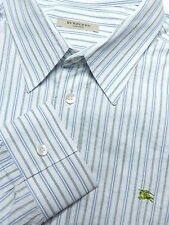 BURBERRY LONDON MENS XXL LUXURY SEERSUCKER SHIRT WHITE GREEN BLUE STRIPE UK MADE
