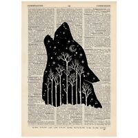 Wolf Forest Vintage Dictionary Art Print Tattoo Alternative Travel