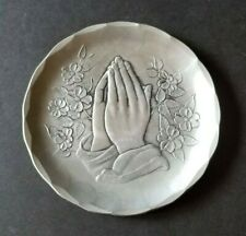 "Wendell August Forge Aluminum Praying Hands Dish / Plate 4.5"" Free Shipping"