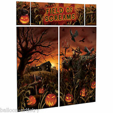 Gothic Halloween PUMPKIN FIELD OF SCREAMS Party Scene Setter Wall Decorating Kit