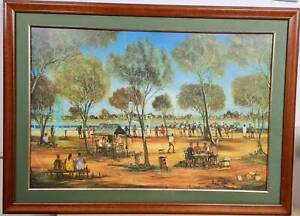 Very Old Large Framed Pro Hart Print Country Races 104 x 75 cm