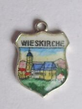 Wieskirche vintage silver and enamel shield travel charm