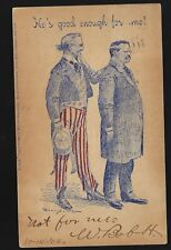 1904 Campaign Cartoon Postcard Teddy Roosevelt Uncle Sam He's Good Enough for Me
