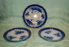 FLOW BLUE ENGLISH CHINA HENRY ALCOCK TOURAINE PATTERN 2 SAUCERS 1 PLATE 1898's