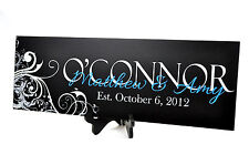 Personalized Family Name Sign Plaque Last Name Sign Painted Wall Sign 7x20