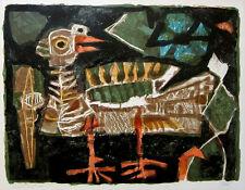"""ANTONI CLAVE Signed 1952 Original Color Lithograph - """"Oiseau"""""""