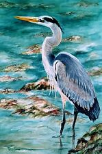 Great Blue Heron, On the Rocks, Florida Shorebird, 8x12 Watercolor print ARTIST