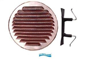 Bocchetta griglia aria per ventilazione tonda in rame diametro esterno 150 mm.