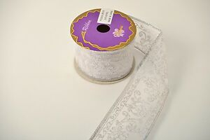 """2.5"""" Silver Shiny Metallic Floral Patterned Wire Edged Organza Ribbon by Yard"""