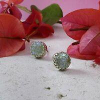 SPIRA Handcrafted Green Roman Glass Stone 925 Sterling Silver Stud Earrings