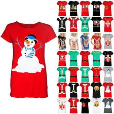 Womens Xmas Snowman Hug Hat Carrot Nose Cap Sleeve Ladies Christmas Tee T Shirt