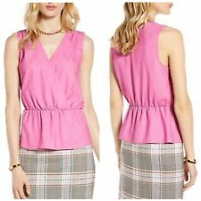 NEW Halogen Wrap Sleeveless Blouse Bubblegum Pink Peplum Blouse Size XL