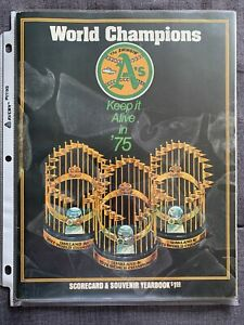 World Champions Keep It Alive In 1975 Oakland A's Scorecard & Souvenir Yearbook