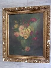 HUILE SUR TOILE - LEMEYRE Bouquet de roses - Ecole XIXe