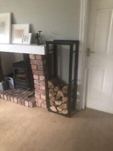 Log Stand 115x40x25cm Black Powder Coated Steel