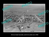 OLD LARGE HISTORIC PHOTO ORROROO SOUTH AUSTRALIA AERIAL VIEW OF TOWN c1940