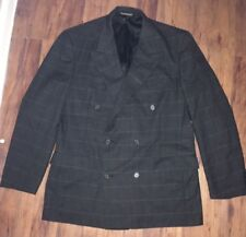 Christian Dior Mens Black Double Breasted Suit 40R Plaid