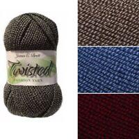 James C Brett Twisted Aran Acrylic Wool Yarn Knitting Crochet Craft 100g Ball