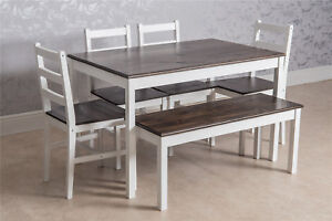 Solid Pine Wood Dining Set Table and Chairs Bench Kitchen Dining Home Furniture