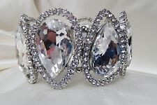 "B520 OLD HOLLYWOOD LARGE CRYSTAL STRETCH BRACELET 1.75""  PROM  BRIDESMAID GIFT"