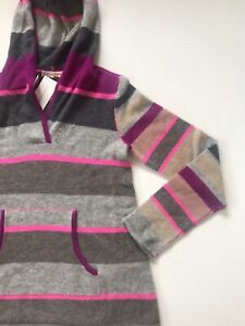 NWT Rebecca Taylor Womens Neon Striped Sweater Small 100% Cashmere Hoodie