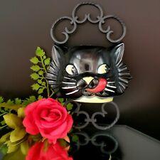 Vintage Scaredy Black Cat Plastic Wall Pocket 1950s Halloween Gothic F&F Mold