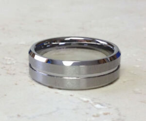 Tungsten Carbide Ring Matte Finish Groove Size 9,10,11,12,13,14 (f39)