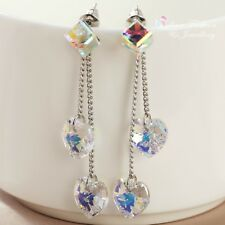 18K White Gold Filled Made With Swarovski Element Water Cub Heart Drop Earrings