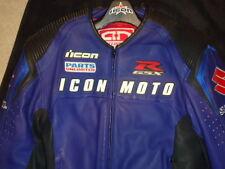 ICON MOTO LEATHER MOTORCYCLE JACKET - XL  GSXR SUZUKI