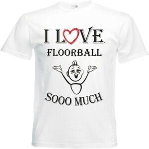 T-Shirt I Love Floorball für Damen Herren und Kinder ... in der Farbe Weiss