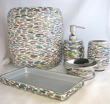 5 Pc Set Multi Color Glass Mosaic Soap Dispenser+Dish+Toothbrush +Tray+Trash Can