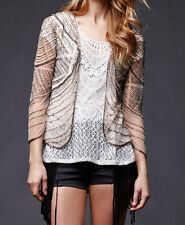 NWD HOUSE of HARLOW by NICOLE RICHIE BOHO TAN BEADED SHEER CARDIGAN TOP XS S