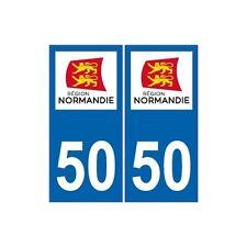 50 manche autocollant plaque sticker Normandie immatriculation nouveau logo droi